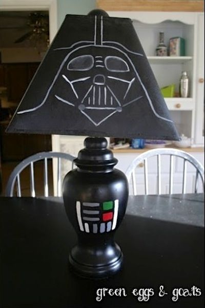 8) Light up the Dark Side with this DIY Darth Vader lamp See what we did there?  Anyway, this cool project can be recreated a regular black lamp and acrylic paints.  Find out all the details over at Green Eggs And Goats now.