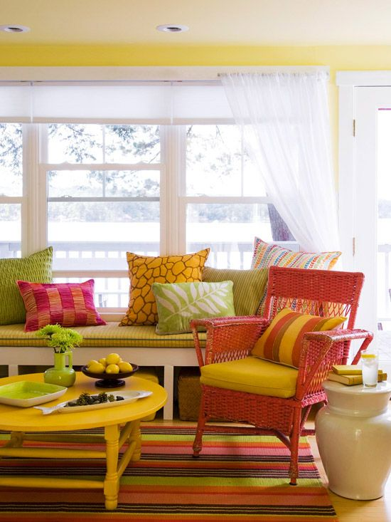 oh the colors, the colors, the bright colors . . .: Paintings Furniture, Color Palettes, Paintings Wicker, Living Rooms, Sun Porches, Bright Color, Sunrooms Idea, Happy Color, Sun Rooms