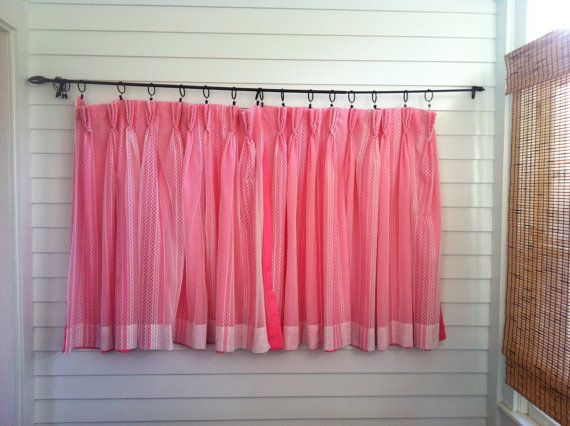 Vintage Pink Curtains, Hot Pink Floral Curtains, Set of Two Pink Curtains with White Lace Overlay, Pink Bedroom Curtains, Pink Floral Fabric on Etsy, $43.32
