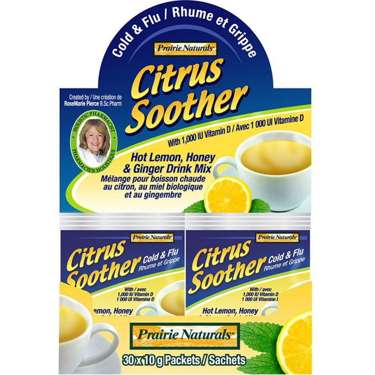 When it comes to fighting colds and flu, nothing has a more soothing and protective effect than a hot lemon, honey and ginger drink. Add the therapeutic, healing power of Vitamins C & D, along with immune-boosting zinc, elderberry, lemon balm, and Echinacea root. Now you have Citrus Soother – a delicious, instant natural cold and flu remedy formulated by Holistic Pharmacist RoseMarie Pierce, BSc.Pharm.