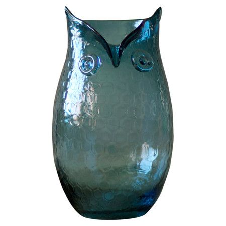 Textured glass owl vase in navy.   Product: VaseConstruction Material: GlassColor: NavyD...