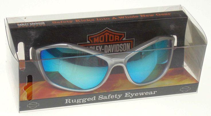 Harley Davidson Rugged Safety Eyewear Glasses Silver Frame Tinted Blue Mirror