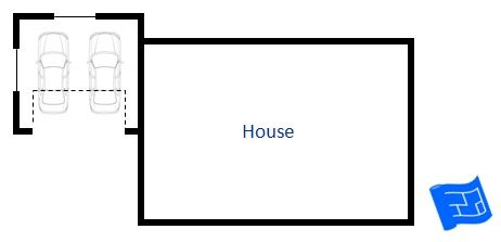 Here's a garage floor plan to the side of the house with forward facing access and set more towards the back of the home. Click through to read more on garage design and home design.