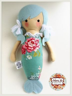 Patrones de hermosas muñecas sirenas para hacer en fieltro o tela.