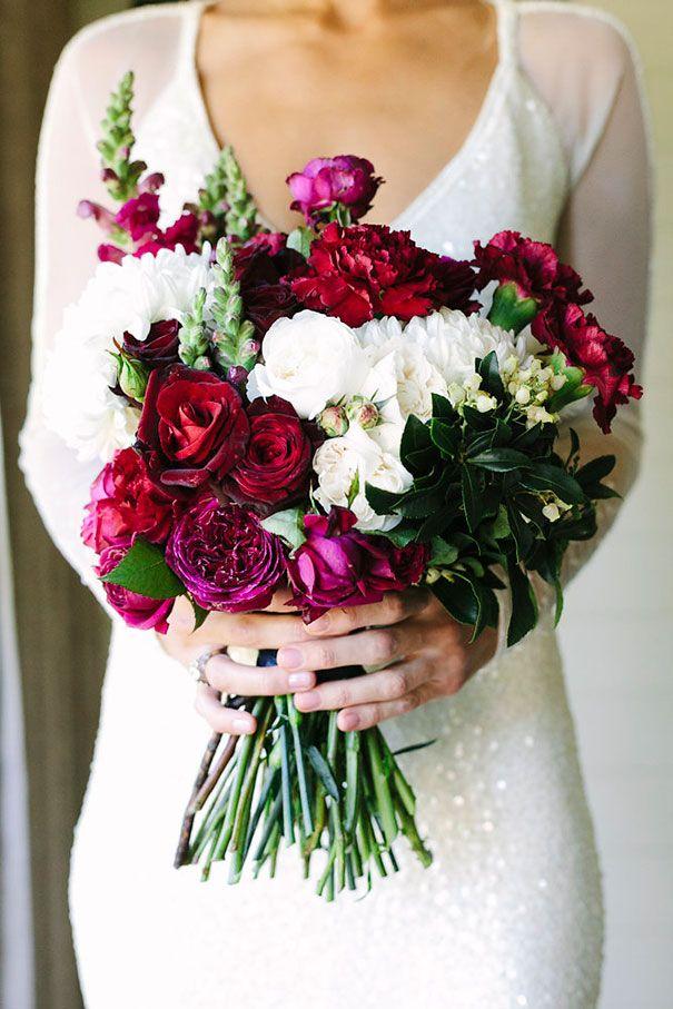 ASHLEIGH + BRENDAN // #wedding #flowers #bouquet #bride #bridal #bridesmaids #maroon #white #green #foliage #romantic #elegant #red