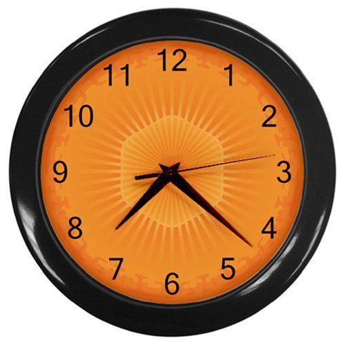 Carrot+Slice+Black+Frame+Kitchen+Wall+Clock