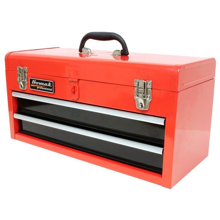 Homak 20 in. Tool Box, Red, Powder Coat