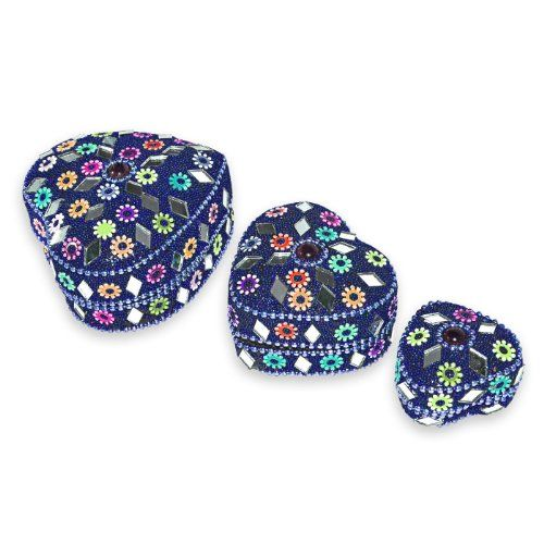 Indian Gift Home Decor Blue Heart Shape Jewellery Boxes Handmade Lac Beaded Material Table Top Vintage Style Decorative Box Set of 3 Pcs Antique Pill Box DakshCraft http://www.amazon.co.uk/dp/B00CYGHKM4/ref=cm_sw_r_pi_dp_PWKfwb14R2WBW