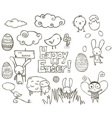 Easter doodle vector