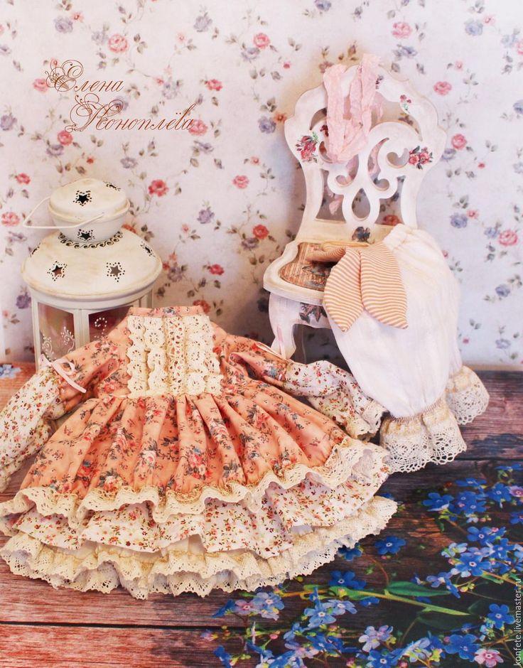 Купить Одежда для кукол. Комплект одежды, бохо, шебби шик - розовый, одежда для кукол, одежда