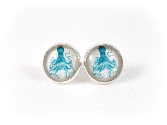Blue Octopus Earrings Sea Creature Jewelry by foreverandrea, $12.00 Jewelry for Teen Girls Gift Ideas for Teen Girls