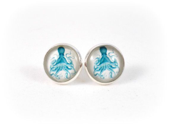 Blue Octopus Earrings Sea Creature Jewelry by foreverandrea