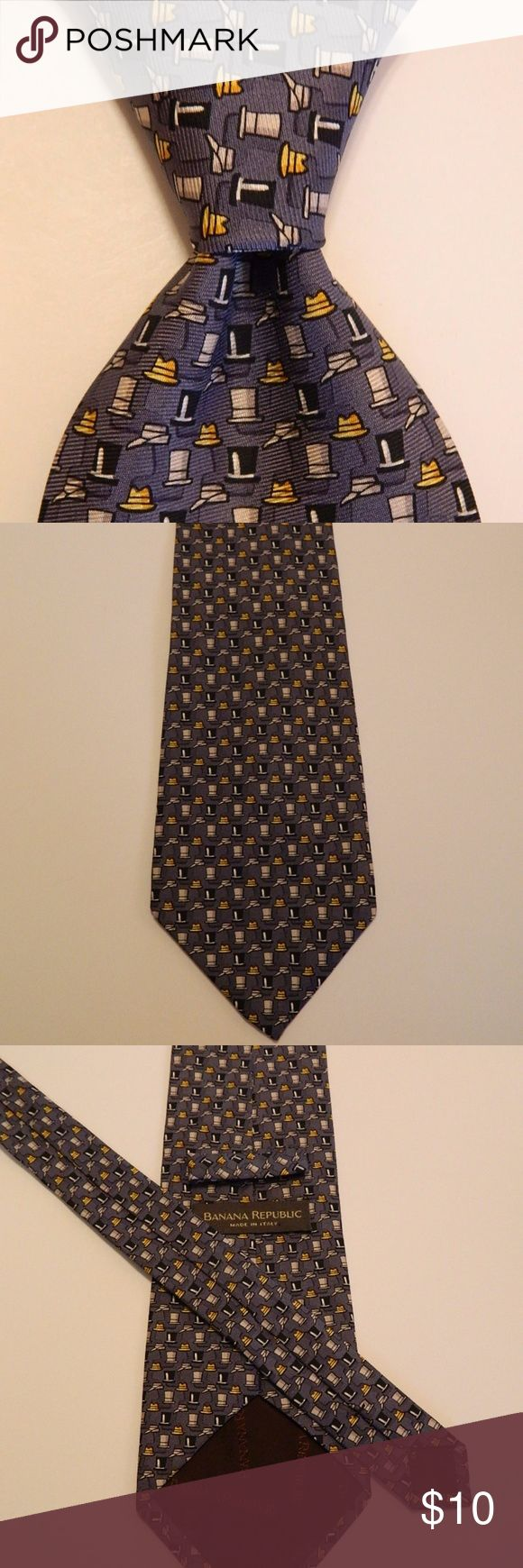 """BANANA REPUBLIC Silk Necktie ITALY Top Hats Gray BANANA REPUBLIC Men's 100% Silk Necktie ITALY Novelty TOP HATS Gray/Black EUC  ·        Brand: Banana Republic ·        Style: Neck Tie ·        Color: Gray/Black/Yellow ·        Material: 100% Silk ·        Attachment: Tied ·        Length: Short 56"""" ·        Width: Wide 3 7/8"""" ·        Pattern: Novelty (Top Hats) ·        Country/Region of Manufacturer: Italy ·        Condition: Excellent Used Condition Banana Republic Accessories Ties"""