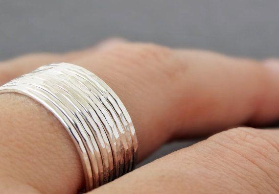 Dunne ringen van Sterling Zilver-stapelen zilveren door bluebirdss