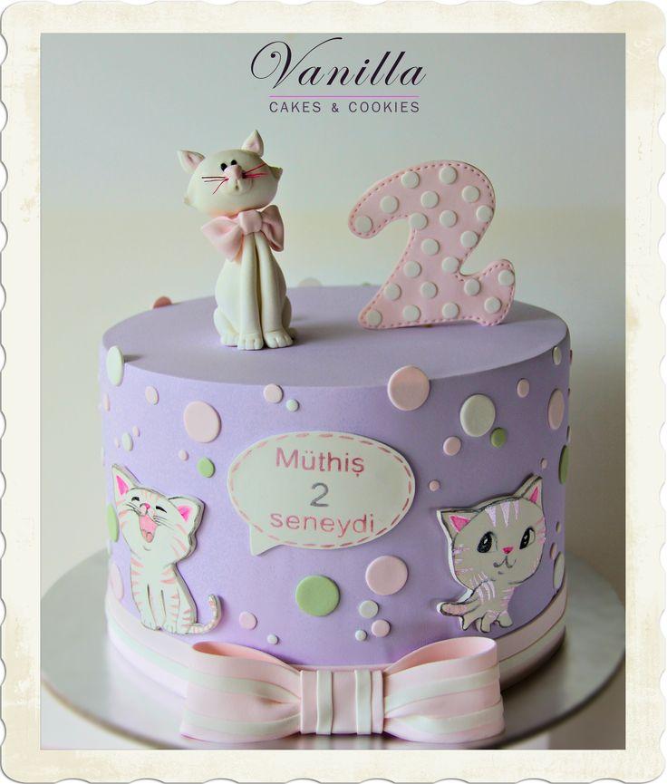 Cat Love. Kedicikli Pasta. 2 yaş kız bebek pastası. Kitten cake. Cat birthday cake. Kedili bebek pastası – Vanilla Stüdyo