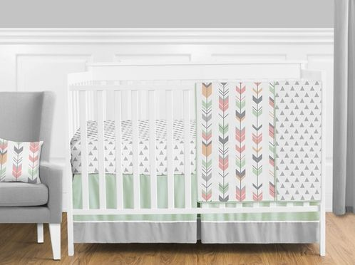Grey, Coral and Mint Woodland Arrow Baby Bedding - 4pc Girls Crib Set by Sweet Jojo Designs only $139.99