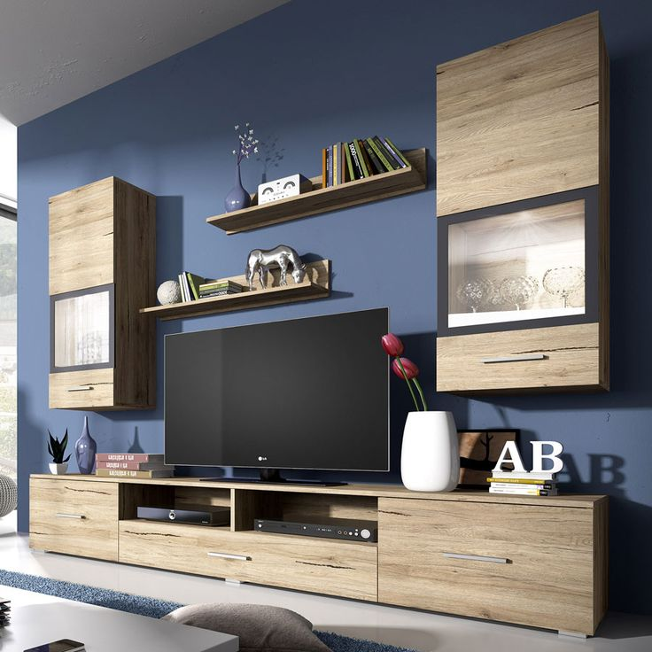 Ensemble meuble TV couleur chêne clair et gris contemporain RITA