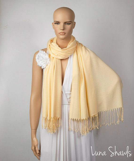 Light Yellow Shawl Wedding Shawl Light Yellow by LunaShawls: $25.00