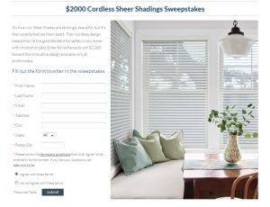 Smith Noble $2,000 Cordless Sheer Shadings Giveaway