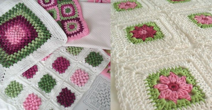 two knitted square