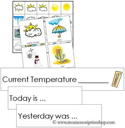 Weather Tracking Cards - Printable Montessori Weather Materials for Montessori Learning at home and school.