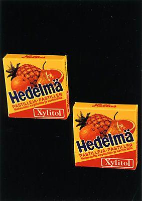 Hellaksen Xylitol-hedelmäpastilleja 70-/80-luvulta