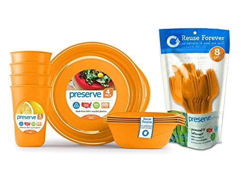 Preserve Everyday Tableware Set with Cutlery, Orange Pres...