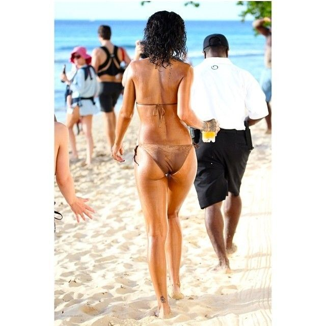 Rihanna hits the beach in Barbados