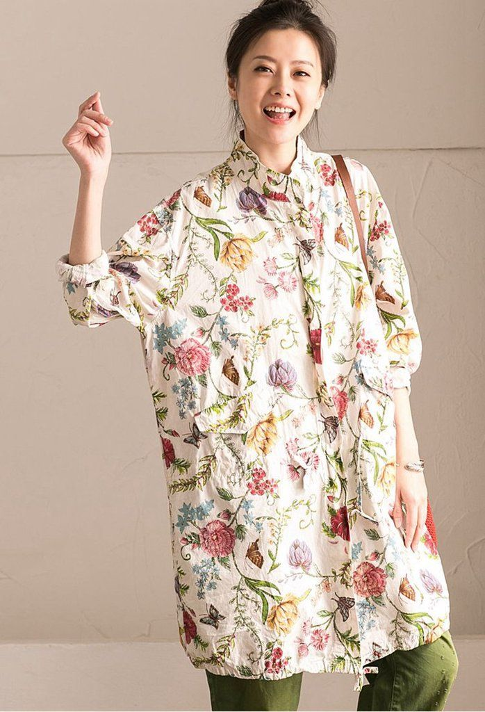 Lovely Flower Cotton Linen Wind Coat Big Pocket Casual Women Clothes W6920B