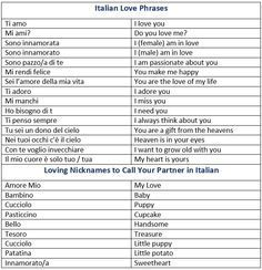 How to Say I Love You in Italian. Italian Love Phrases. Loving Nicknames to Call Your Partner in Italian. - learn Other languages,vocabulary,communication,italian