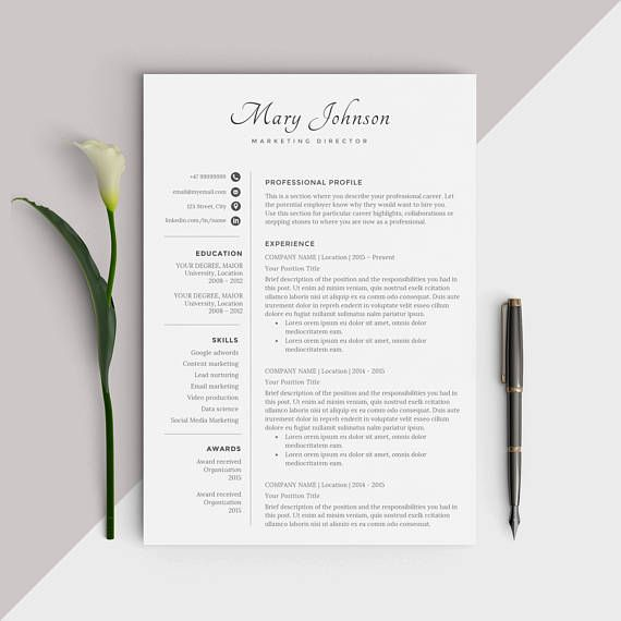 professional resume template    modern cv design - easy instant download for word