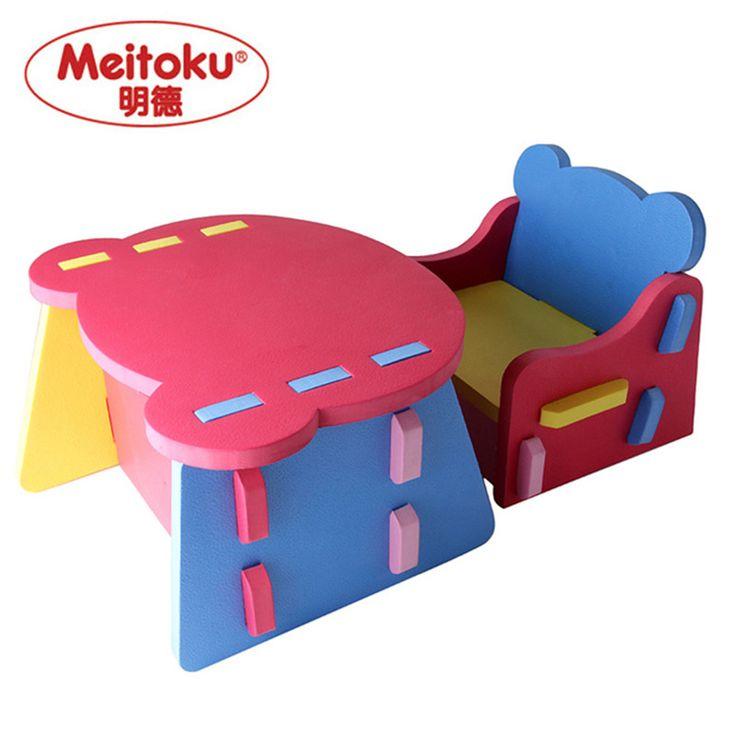Meitoku Dzieci Pianka EVA dzieci stół i krzesła zestaw, zestaw Biurko Bezpieczny, lekki
