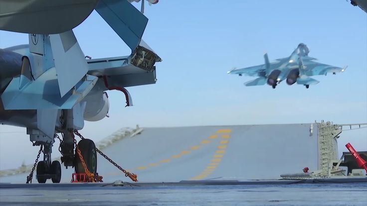 """Footage of fighting operation of the Russian aircraft carrier """"Admiral Kuznetsov"""" in the Mediterranean Sea near coast of Syria  [Video by Ministry of Defence of the Russian Federation]"""