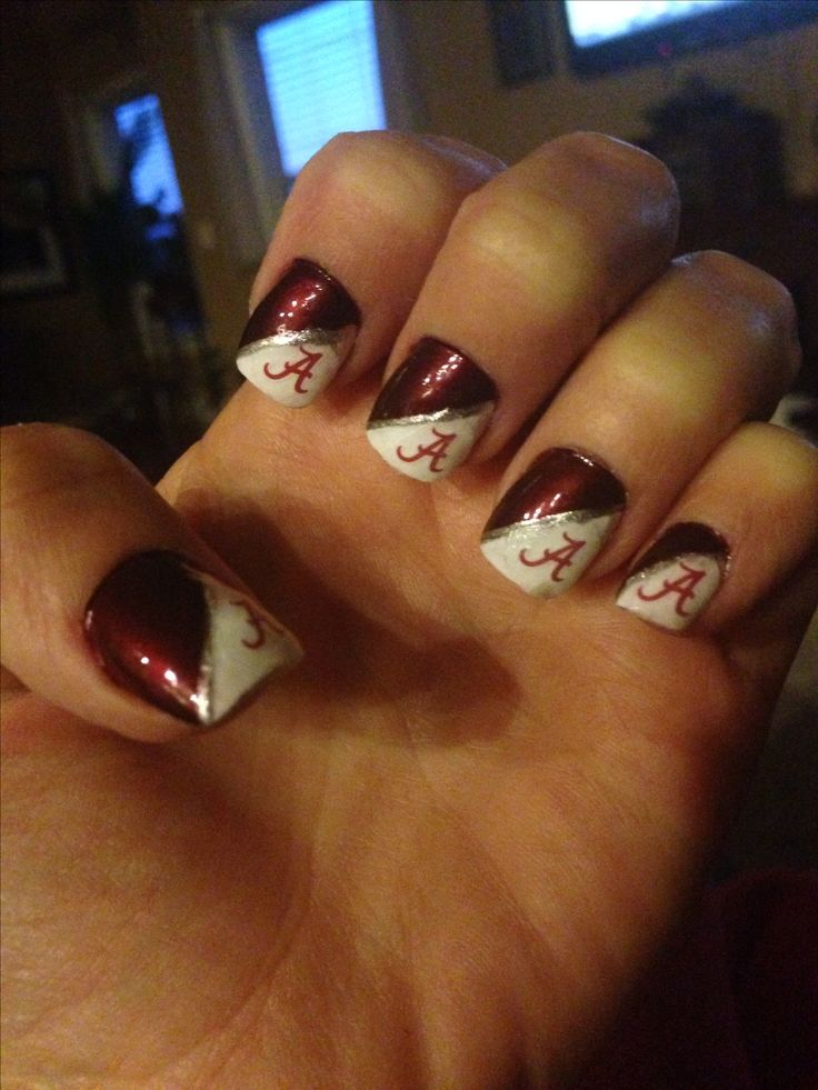 Nail design for the Alabama Crimson Tide's season opener against West Virginia! Roll Tide Roll!!