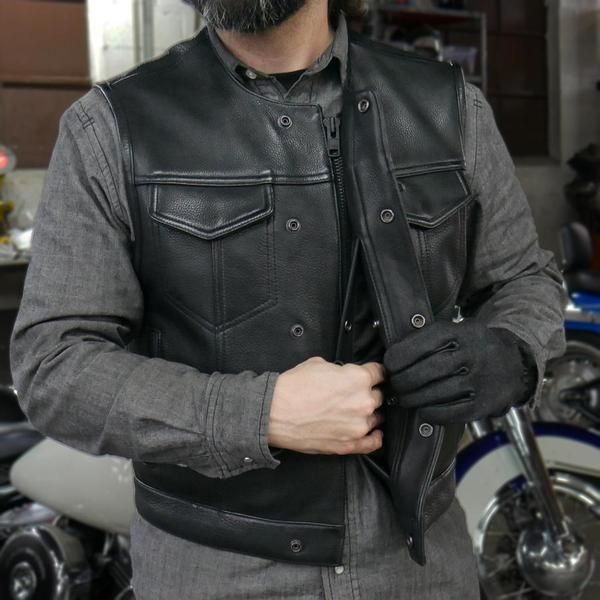 Men/'s Sons of Anarchy Genuine Perforated Cow Leather Rider Biker Vest Waistcoat