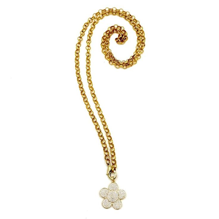 """Love me some flower power and Gold! Ashley Gold, CZ Flower Necklace, Sterling Silver .925 Gold Vermeil CZ Flower - 1.25"""",5.5 Gram, 36"""" Length #gold #flower #jewelry #necklace #style"""