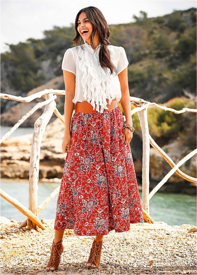 Długa spódnica Długa spódnica z gumką w • 109.99 zł • bonprix