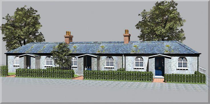 A newer and better rendering of the traditional terraced cottages in Johnstown Co.Kildare c. 1860 built for workers of the Palmerstown estate