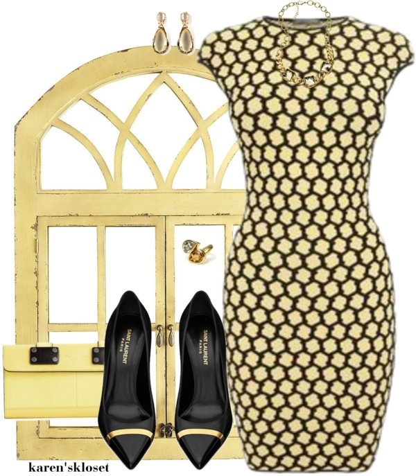 """pale yellow & black"" by karenskloset ❤ liked on Polyvore"