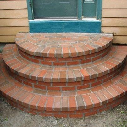 Loving these steps : Rl Sanborn Masonry http://www.VintageBricks.com #1 supplier of authentic reclaimed thin brick tiles