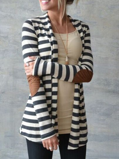 Shop Color-block Long Sleeve Striped Patch Coat online. SheIn offers Color-block Long Sleeve Striped Patch Coat & more to fit your fashionable needs.