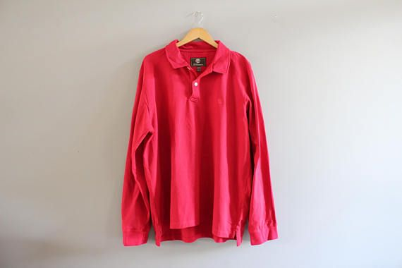 Timberland Polo Shirt Red Cotton Polo Button Up Long Sleeve