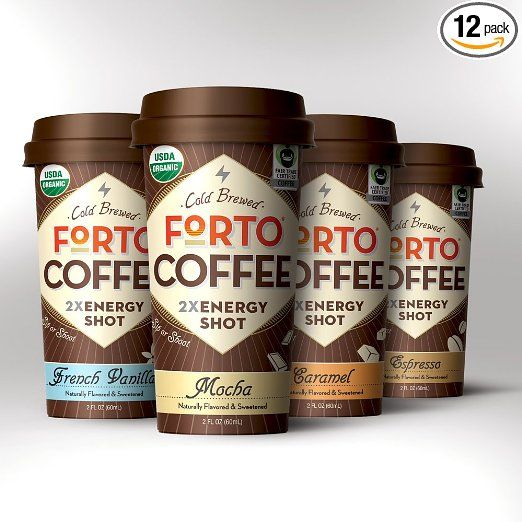 FORTO - Variety Pack (12pck) - organic Coffee Energy Shot with 2x ENERGY (200mg organic caffeine) - 3 Mocha + 3 Vanilla + 3 Espresso + 3 Caramel - 2oz. handheld bottle, USDA-Organic, Fair Trade certified, 100% Arabica beans, Cold Brewed. **Share in our Love of Strong Coffee!**