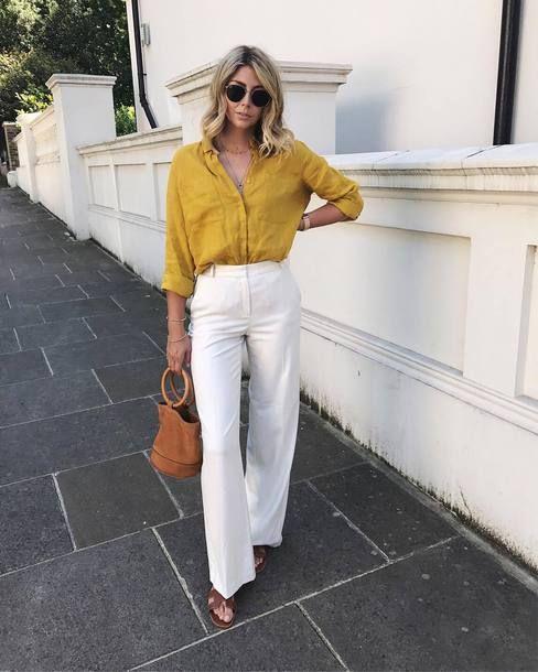 2a9eb575a21c shirt tumblr yellow yellow top pants white pants wide-leg pants bag handbag  shorts shoes sandals flat sandals sunglasses