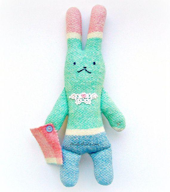 Bunny Rabbit Softie Woodland Plushie Upcycled Eco by WinterOwls