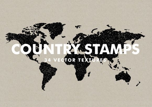 Vector Country Stamps - 34 Items by Offset on @creativemarket