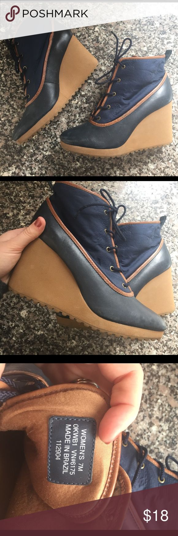 LL Bean wedge boots size 7M Navy and brown wedge boots from LL Bean ! Fashionable and weather friendly L.L. Bean Shoes Heeled Boots