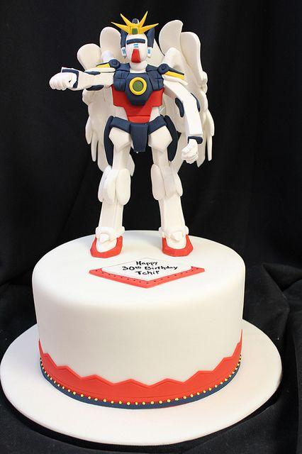 HOLY COW!!!!  Gundam figurine cake by Amanda Oakleaf Cakes, via Flickr