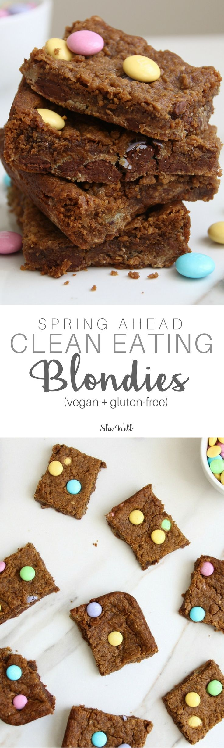 This recipe is a healthy take on blondies! They make a great easter or spring dessert and are perfect for people who are vegan, gluten-free, dairy-free or egg-free!