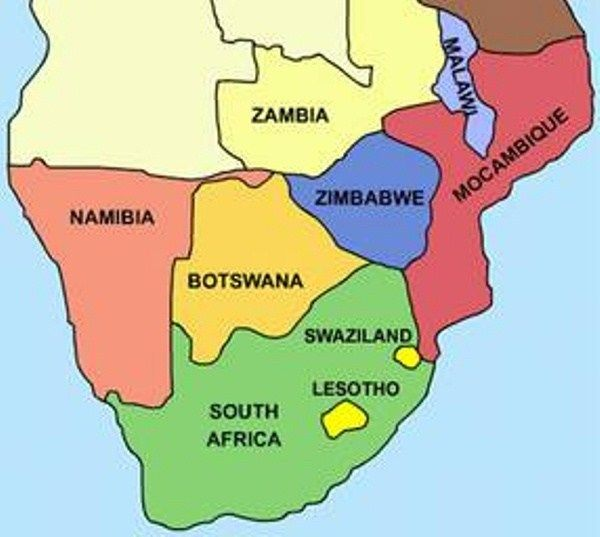 Map Of South Africa Countries name List of Southern African Countries | Southern africa map